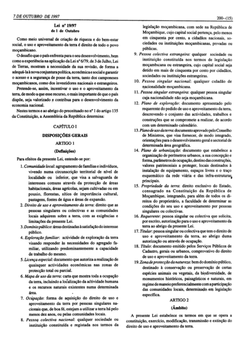 The first articles of the Land Law n. 19/97